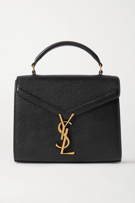 Saint Laurent Cassandra Mini Textured-leather Tote - Black