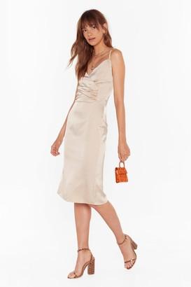 Nasty Gal Womens The Night We Met Satin Midi Dress - beige - 8