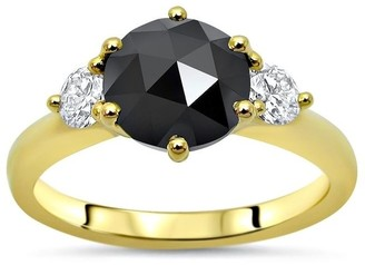 Front Jewelers 1 & 3/5ct Black Round Rose Cut Diamond 3 Stone Engagement Ring 14k Yellow Gold