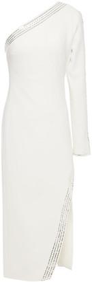 David Koma One-sleeve Sequin-embellished Stretch-cady Midi Dress
