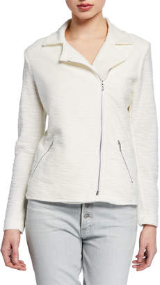 Majestic Cotton/Cashmere Textured Long-Sleeve Moto Jacket