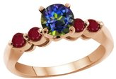Gem Stone King 1.28 Ct Round Blue Mystic Topaz Red Ruby 18K Rose Gold Engagement Ring