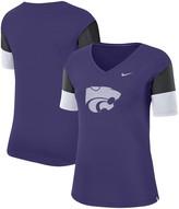 Nike Women's Purple/Black Kansas State Wildcats Breathe Team Sleeve Performance V-Neck T-Shirt