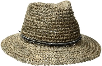 Ale By Alessandra Women's Trancoso Crochet Seagrass Hat with Beaded Metal Trim