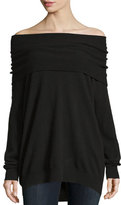 KENDALL + KYLIE Fold-Over Off-The-Shoulder Tunic Sweater, Raven