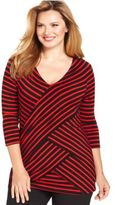 NY Collection Plus Size Three-Quarter-Sleeve Striped Tiered Top