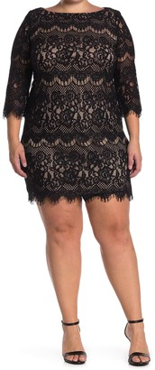 Eliza J Scalloped Hem Lace Shift Dress