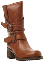 Dune Rocking Buckle Detail Leather Calf Boot, Tan Leather