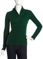 Neiman Marcus Shawl-Collar Cashmere Sweater, Green