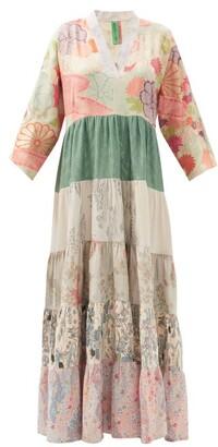 RIANNA + NINA Patchwork Vintage-silk Maxi Dress - Multi