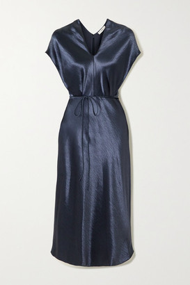 Vince Belted Hammered-satin Midi Dress - Navy