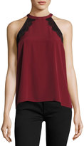 1 STATE 1.STATE Lace-Trimmed Halter-Neck Blouse, Wine