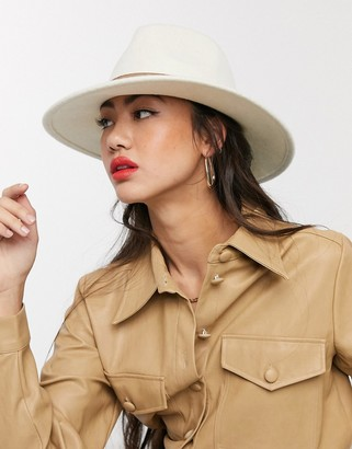 ASOS DESIGN felt fedora hat with tan band and size adjuster in cream