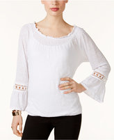 INC International Concepts Linen Off-The-Shoulder Peasant Top, Created for Macy's
