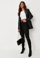 Missguided Petite Black High Waisted Slash Knee Skinny Jeans