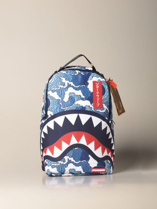 Sprayground Backpack The Shark Wave Backpack In Recycled Fabric With Bottles