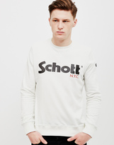 Schott NYC Schott Crew Neck Sweatshirt With Casual Logo White