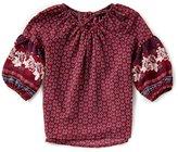 Takara Little Girls 4-6X Long-Sleeve Border Print Woven Top