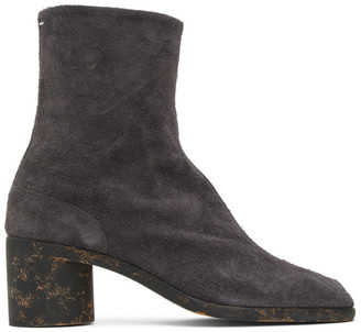 Maison Margiela Grey Suede Mid Heel Tabi Boots