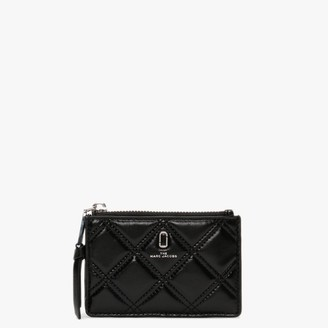 Marc Jacobs Quilted Top Zip Black Leather Multi Wallet