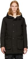 Stone Island Black Down Shearling Hooded Jacket