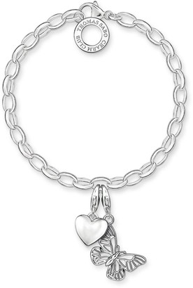 Thomas Sabo Sterling Silver Charm Club Bracelet With Butterfly and Heart Charms