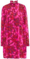 McQ Pleated Ruffle-trimmed Floral-print Silk Crepe De Chine Mini Dress