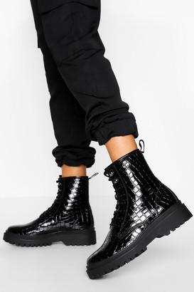 boohoo Chunky Sole Lace Up Hiker Boot