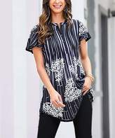 Reborn Collection Women's Tunics Black - Black & White Striped Short Sleeve Notch Neck Pin Tuck Tunic - Women & Plus