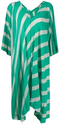 Issey Miyake Asymmetric Hem Striped Dress