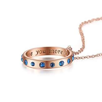Yin & King 18k Rose gold Plating 'I Love You More' Blue rhinestone Ring Pendant Necklace 18inches long for women