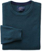 Charles Tyrwhitt Teal Merino Cotton Crew Neck Wool Sweater Size Large