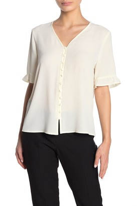 Cece By Cynthia Steffe Ruffle Sleeve Solid Crepe Blouse (Petite)