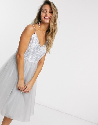Chi Chi London lace top tulle prom dress in silver gray