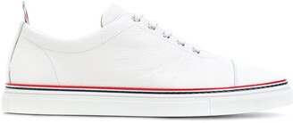 Thom Browne Straight Toe Cap Trainer In Pebble Grain & Calf Leather