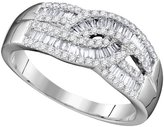 Diamond & CO 10k White Gold Womens Natural Round Baguette Diamond Cocktail Fashion Band Ring 2/3 Cttw