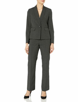 Le Suit LeSuit Women's Mini Stripe 1 Button Shawl Lapel Pant Suit