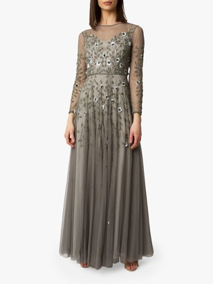 Raishma Floral Embroidered Gown, Duck Egg