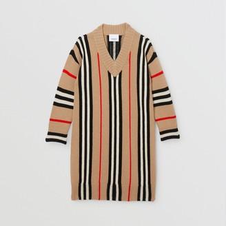 Burberry Childrens Icon Stripe Wool Cashmere Jacquard Sweater Dress