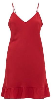 POUR LES FEMMES Ruffled-hem Silk Crepe De Chine Slip Dress - Dark Red