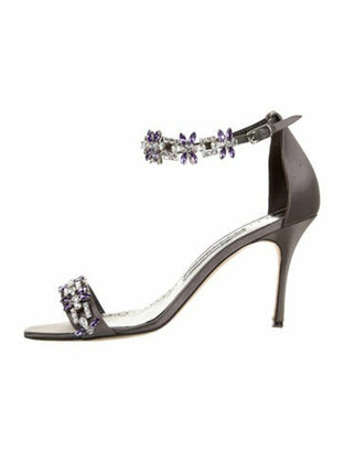 Manolo Blahnik Crystal Embellishments Sandals Grey