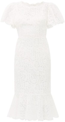 Dolce & Gabbana Ruffled Lace Midi Dress - Womens - Ivory