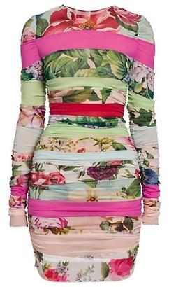 Dolce & Gabbana Striped Patchwork Chiffon Mini Cocktail Dress