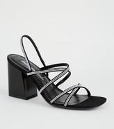 New Look Suedette Diamante Strappy Heels