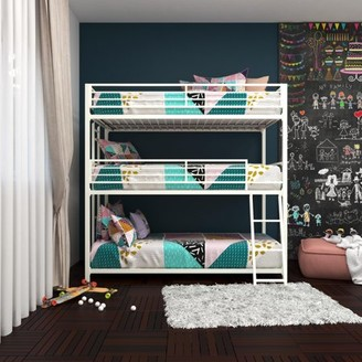 DHP Your Zone Metal Triple Bunk Bed, White