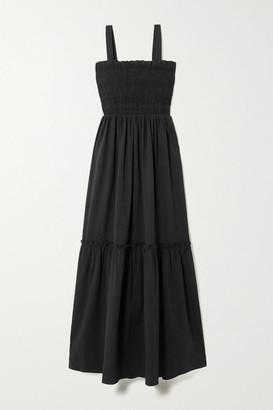 HOLZWEILER Bjerkelia Shirred Stretch-cotton Seersucker Midi Dress - Black