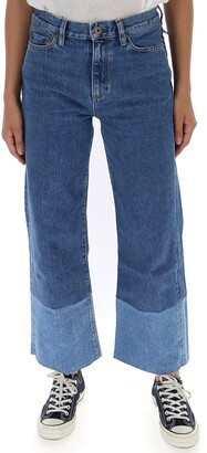 Simon Miller Two-Tone Wide Leg Denim Jeans