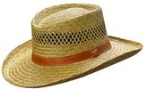 Dorfman Pacific Mens Rush Straw Lightweight Casual Wide Brim Gambler Hat