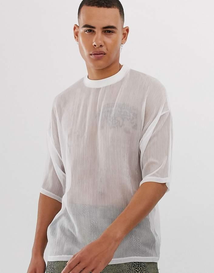 a1e30ec05ab Mens White Sheer Shirt - ShopStyle