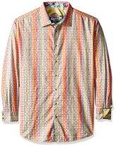 Robert Graham Men's Tall Size Calico Rainbow Long Sleeve Button Down Shirt